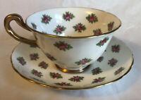 Vintage Royal Chelsea Fine Bone China Pink Floral Tea Cup & Saucer