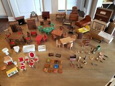 Vintage Dollhouse Furniture Mixed Lot 40 Wooden Pieces 9 Plastic 34 Accessories