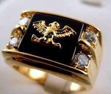 Eagle Black Onyx 1 carat cz mens ring 14K gold overlay size 10