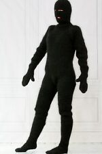 Black fuzzy mohair extreme catsuit body sweater pants socks hat mittens