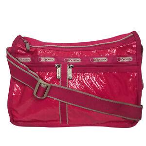 LeSportsac Shiny Pink Crossbody Small Messenger Bag Purse Pockets Lightweight