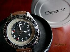 Deporte Men's Kahuna Dual Time Brown Leather Strap/Black-Taupe Dial