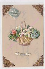 CPA CELLULOID AJOUTIS Heureux Anniversaire panier de fleurs coins dorés