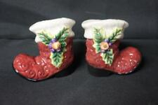 Fitz and Floyd Christmas Santa Salt and Pepper Shakers Santas's Boots