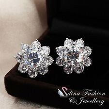18K White Gold Plated Simulated Diamond Sparkling Flower Large Stud Earrings