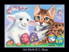 Bengal Kitten Cat Sheep Lamb Toy Easter Eggs ACEO Limited Edition Art Print