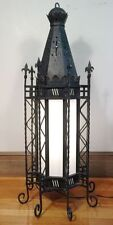 Massive Antique Gothic 8 Sided Wrought Iron Lamp Chandelier. Highly Detailed