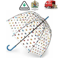 Fulton English Garden Floral Clear Birdcage Full Dome Shape Walking Umbrella