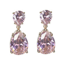 CZ by Kenneth Jay Lane Double Tear Pink DAZZLING Earrings KE107X NWT