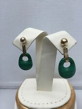 14K Yellow Gold Malachite Stone Drop Dangle Earrings With Genuine Stamped