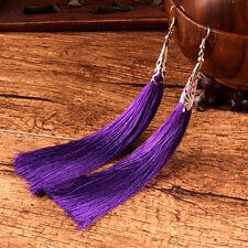1PAIR BOHO Women Ethnic Gypsy Silk String Long Tassel Fringe Hook Dangle Earring