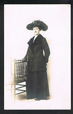 RPPC Studio Real Photo Postcard ~ Woman Wears Fancy Hat and Fur Trimmed Jacket