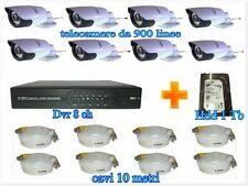 KIT DVR 8Ch VIDEOSORVEGLIANZA + 8 TELECAMERE 900LINEE + Hdd 1Tb + 8CAVI  OFFERTA