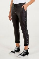 Ladies Black Faux Leather PU Magic Pants Diamante Studs Stretchy XXL UK 18-22