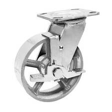 1 Pack 5 Vintage Caster Wheels Swivel Plate Grey Iron Casters With Brake