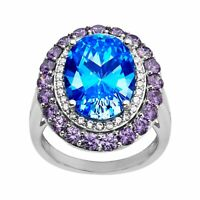 Ring with Blue, Purple, & White Swarovski Cubic Zirconia in Sterling Silver