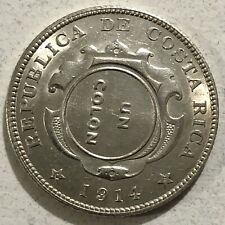 🇨🇷COSTA RICA SILVER COIN •1923• COLON OVER 1914 50 CENTS COIN • BRILLIANT UNC!