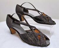 Vintage 1930's Ladies Evening Shoes - Gold Lame, Lace & Glitter Open Toe