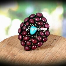 Handmade 925 Sterling Silver Diamond Red Ruby Natural Turquoise Ring 211