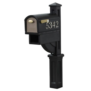 MailMaster Hudson Mailbox All-in-One Post Mount Mail Box with Newspaper Holder