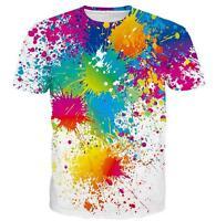 New Fashion Womens/Mens Paint Splatter Funny 3D Print Casual T-Shirt UK1515