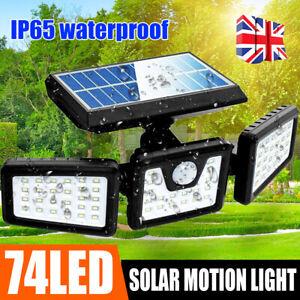 3 Head 74LEDs Solar PIR Motion Sensor Light Outdoor Wall Security Flood Lamp UK