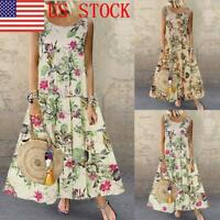 US Women Boho Dress O-Neck Floral Print Sleeveless Long Maxi Dresses GIFT