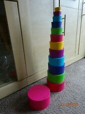 Circular stacking cardboard boxes for crafting. 1.1/2in to 6 in. multicolours