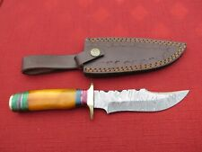 Large Damascus Bowie knife w/ orange colored bone  handle & leather sheath