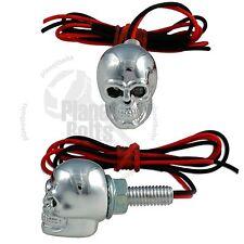 Chrome Skull LED License Plate Bolt Green Diodes Motorcycle Auto Light Fastener