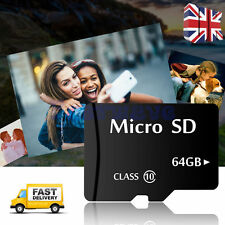 64GB Class 10 Micro SD Card With Free Adapter TF SDHC Flash Storage Memory UK