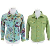 Boho Chic Quilted Reversible Floral Print Cotton Jacket Waverley Sz M Womens