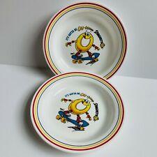 "New listing Two Vintage Corelle SpaghettiO's Pasta Bowl Skateboarding Collectible Dish 8.5"""
