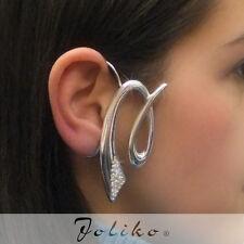 JoliKo Ohrklemme Ear cuff Ohrring Silber Sign Kurve Tattoo Cyber Kristall RECHTS