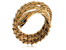Golden Tone All Over Scales Fierce Rainbow Face Snake Fashion Cuff Bracelet