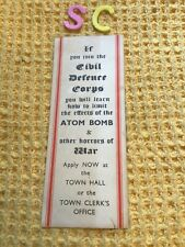More details for rare antique civil defence corps atom bomb horrors of war bookmark cold war