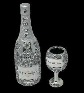SILVER CRUSHED DIAMOND SPARKLY BOTTLE CHAMPAGNE WINE DRINK SITTER BLING