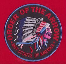 BLACK Twill OA Indian Head Jacket Back Patch Order Arrow 6 Inch BLUE Border