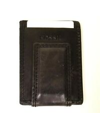 NEW FOSSIL LAREDO BLACK LEATHER MEN'S MULTI CARD CASE,WALLET+MONEY SNAP CLIP