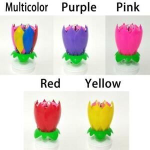 Cake Birthday Flower Candles Decoration Blossom Musical Tool Rotate C0Q8