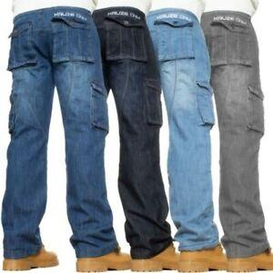 Kruze Hommes Combat Jeans Décontracté Cargo Travail Pantalon Tout Taille