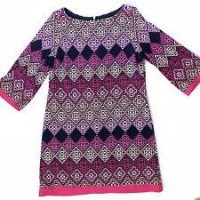 Eliza J Size 14 Navy Blue Pink Diamond Pattern Short Dress Tunic