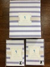 New Pottery Barn Kids Breton Stripe Duvet Cover Full Queen w/ 2 Std Shams Purple