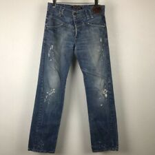 Takeshy Kurosawa Mens Jeans Blue Cotton Ripped Button Fly Hand Made In Italy 32