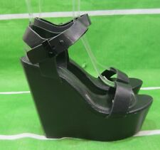 "new ladies Black 5.5""High Wedge Heel 2""Platform Open Toe Sexy Shoes Size 5.5"