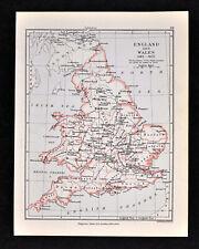 1892 Map England Wales 1485-1603 London Cornwall Oxford Salisbury -- Original