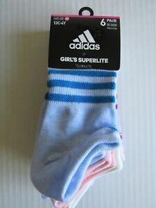 Adidas Girls Superlite No show 6 Pair Socks 13C-4Y Nwt