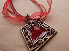 BRAND>NEW>RED>LACE>&>STRANS>WITH>RED>&>BRONZE>SQUARE>SHAPE>PENDANT.