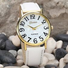Faux Leather White Strap Easy Read Large Numbers Wrist Watch Gold Plated Gift