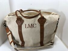 LL Bean Green Large Bag Leather Handles Bottom Zippered